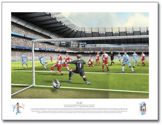 Print of Aguero scoring Winner v QPR